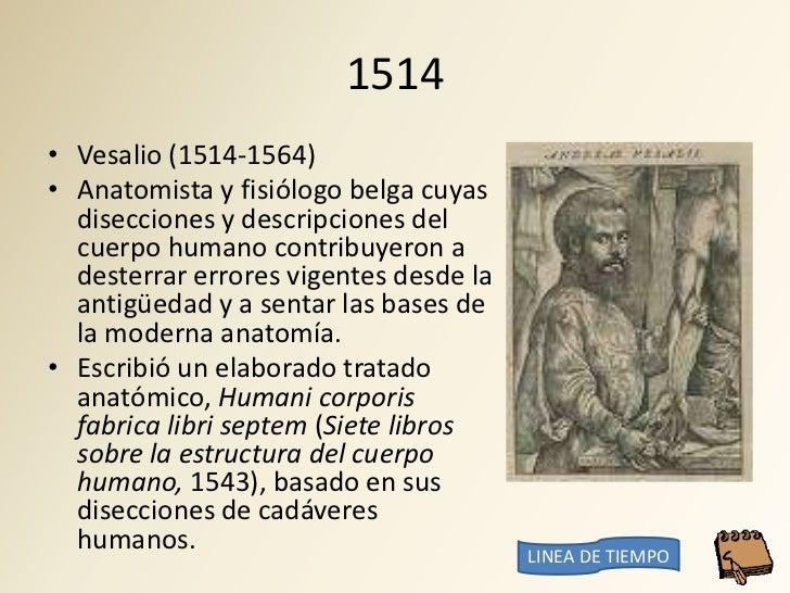 1514 • Vesalio (1514-1564) • Anatomista y fisiólogo belga cuyas   disecciones y descripciones del   cuerpo humano contribu...