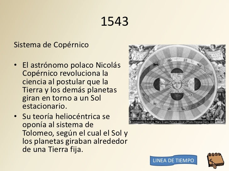 1543 Sistema de Copérnico  • El astrónomo polaco Nicolás   Copérnico revoluciona la   ciencia al postular que la   Tierra ...