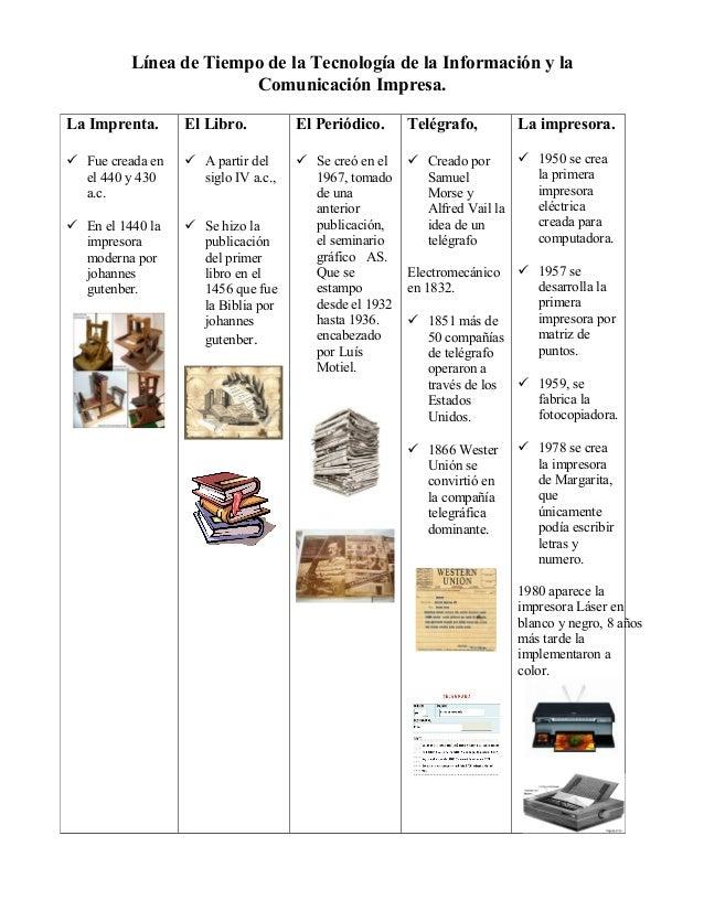 Línea de Tiempo de la Tecnología de la Información y la Comunicación Impresa. La Imprenta.  El Libro.  El Periódico.  Telé...