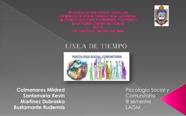 Colmenares Mildred Santamaria Kevin Martínez Dubraska Bustamante Rudermis Psicología Social y Comunitaria III semestre LAGM