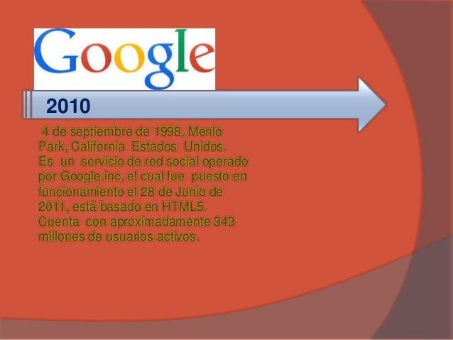 2010  4 de septiembre de 1998, Menlo  Park, California Estados Unidos.  Es un servicio de red social operado  por Google.i...