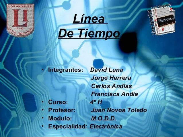 Línea De Tiempo • Integrantes: David Luna Jorge Herrera Carlos Andias Francisca Andia • Curso: 4º H • Profesor: Juan Novoa...