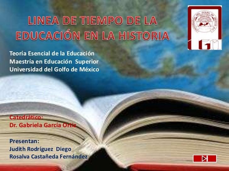 Teoría Esencial de la Educación Maestría en Educación Superior Universidad del Golfo de México     Catedrático: Dr. Gabrie...