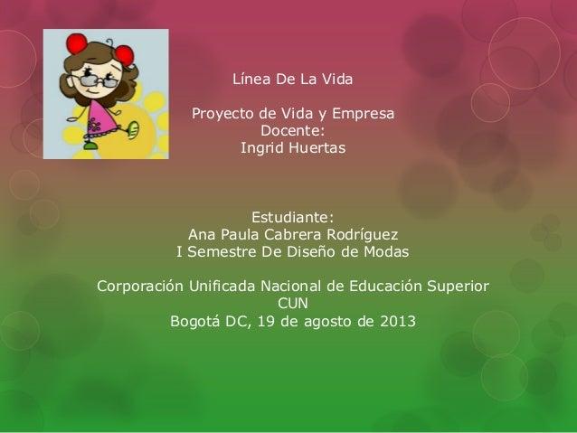 Línea De La Vida Proyecto de Vida y Empresa Docente: Ingrid Huertas Estudiante: Ana Paula Cabrera Rodríguez I Semestre De ...