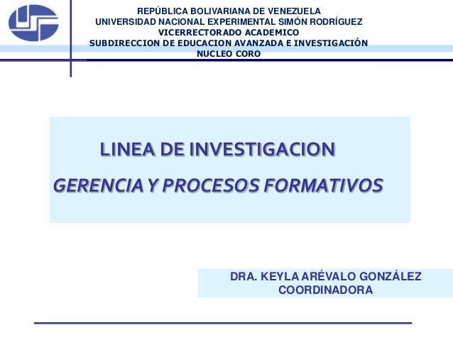REPÚBLICA BOLIVARIANA DE VENEZUELA UNIVERSIDAD NACIONAL EXPERIMENTAL SIMÓN RODRÍGUEZ VICERRECTORADO ACADEMICO SUBDIRECCION...