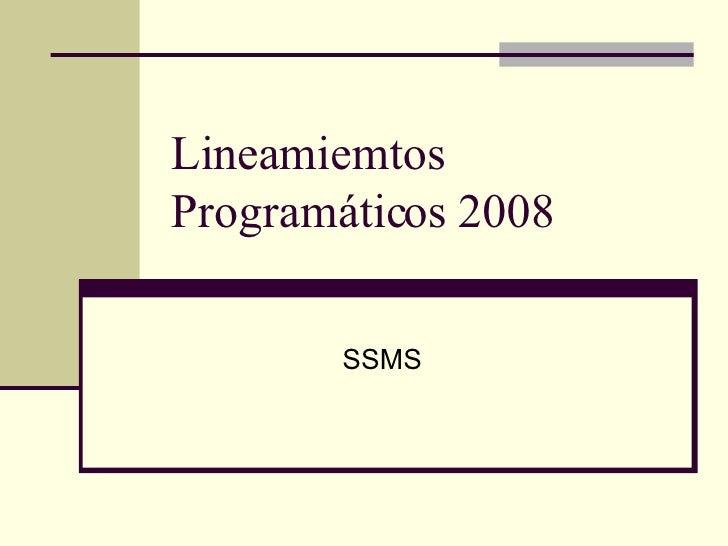 Lineamiemtos Programáticos 2008 SSMS