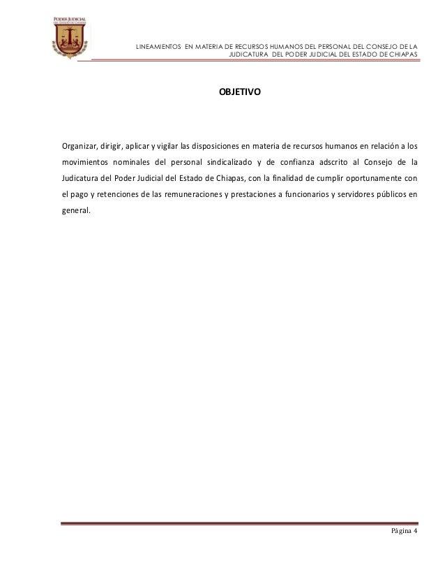 Lineamiento rh poder judicial estado de chiapas