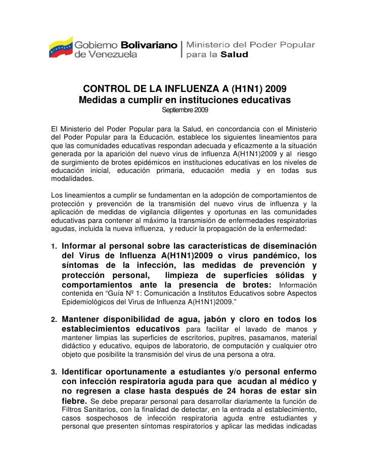 CONTROL DE LA INFLUENZA A (H1N1) 2009         Medidas a cumplir en instituciones educativas                               ...