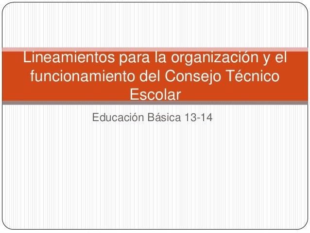 Educación Básica 13-14 Lineamientos para la organización y el funcionamiento del Consejo Técnico Escolar