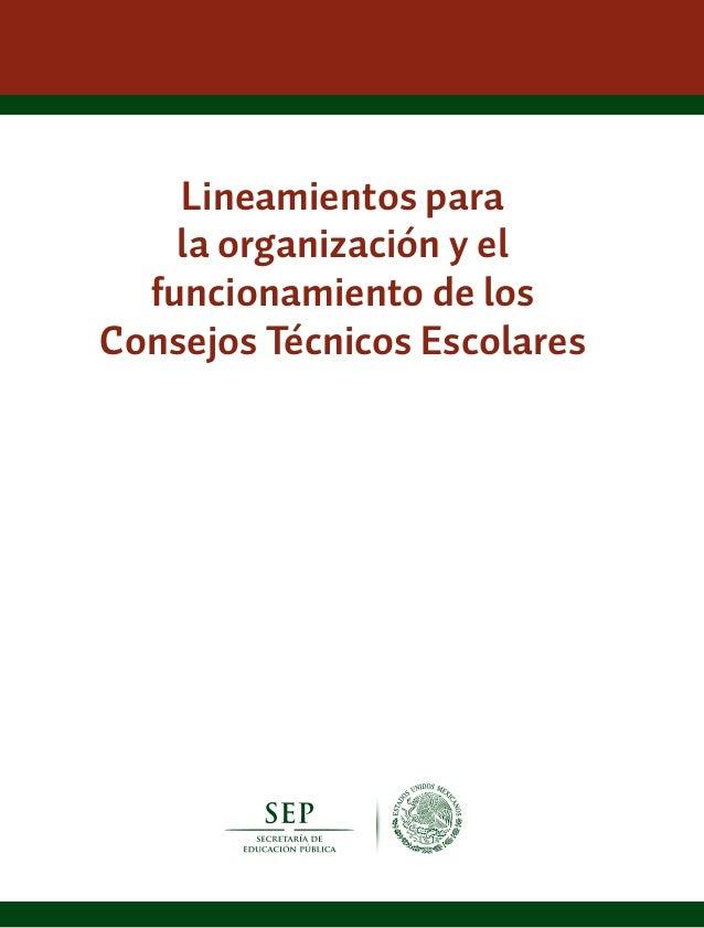 Lineamientos parala organización y elfuncionamiento de losConsejos Técnicos Escolares