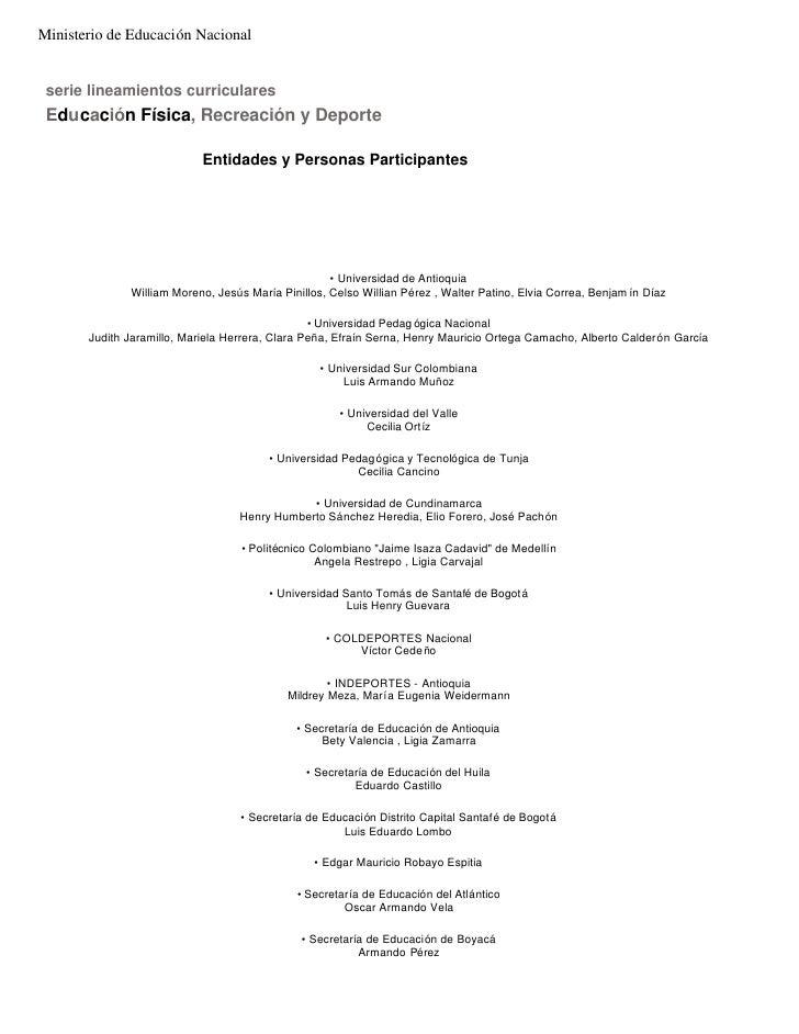 Ministerio de Educación Nacional serie lineamientos curriculares Educación Física, Recreación y Deporte                   ...