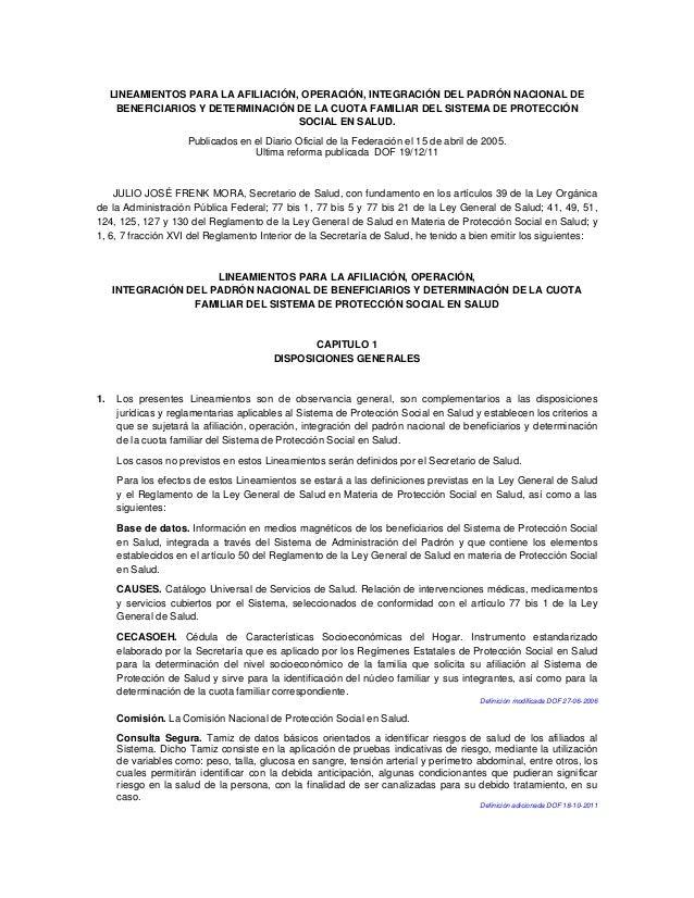 LINEAMIENTOS PARA LA AFILIACIÓN, OPERACIÓN, INTEGRACIÓN DEL PADRÓN NACIONAL DE BENEFICIARIOS Y DETERMINACIÓN DE LA CUOTA F...