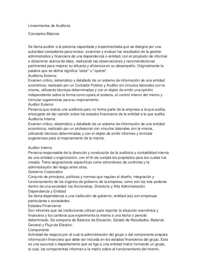 Lineamientos de Auditoria Conceptos Básicos  Se llama auditor a la persona capacitada y experimentada que se designa por u...