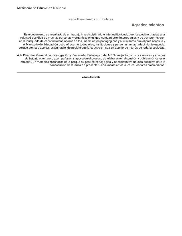 serie lineamientos curriculares  Este documento es resultado de un trabajo interdisciplinario e interinstitucional, que fu...