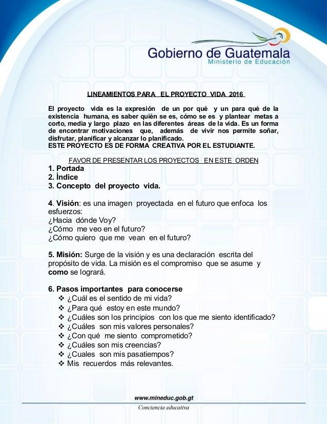 ornato definicion proyecto de vida mineduc gt