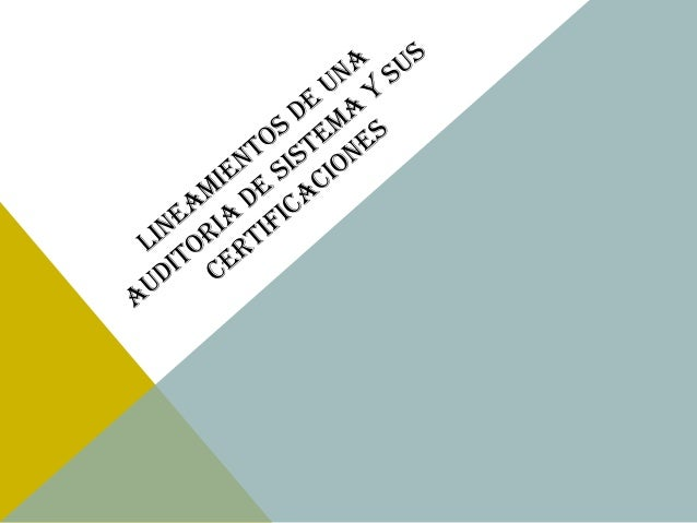 LINEAMIENTOS DE AUDITORIA DE SISTEMAS  La necesidad de contar con lineamientos y herramientas estándar para el ejercicio d...