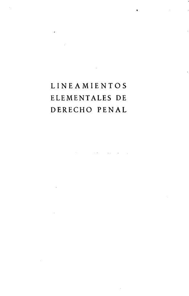 LINEAMIENTOS ELEMENTALES DE DERECHO PENAL