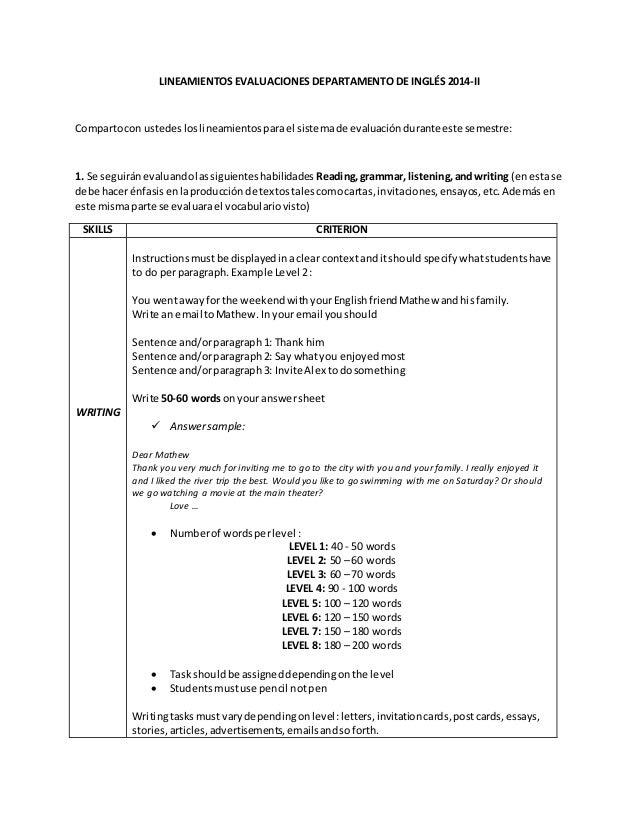 Lineamientos Evaluaciones Departamento De Ingles 2014 Def