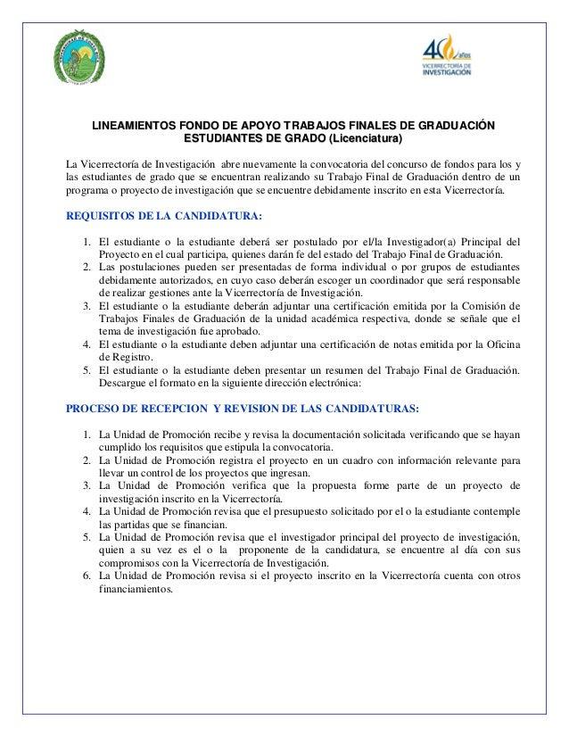LLIINNEEAAMMIIEENNTTOOSS FFOONNDDOO DDEE AAPPOOYYOO TTRRAABBAAJJOOSS FFIINNAALLEESS DDEE GGRRAADDUUAACCIIÓÓNN EESSTTUUDDII...