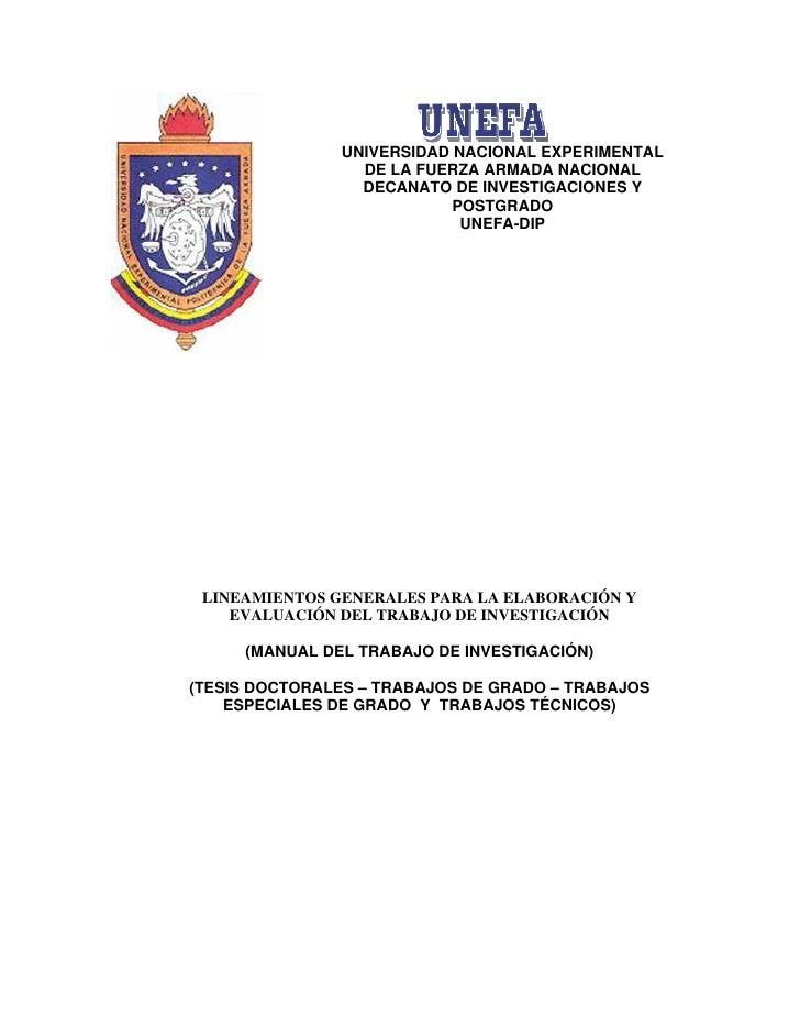 UNIVERSIDAD NACIONAL EXPERIMENTAL                 DE LA FUERZA ARMADA NACIONAL                 DECANATO DE INVESTIGACIONES...