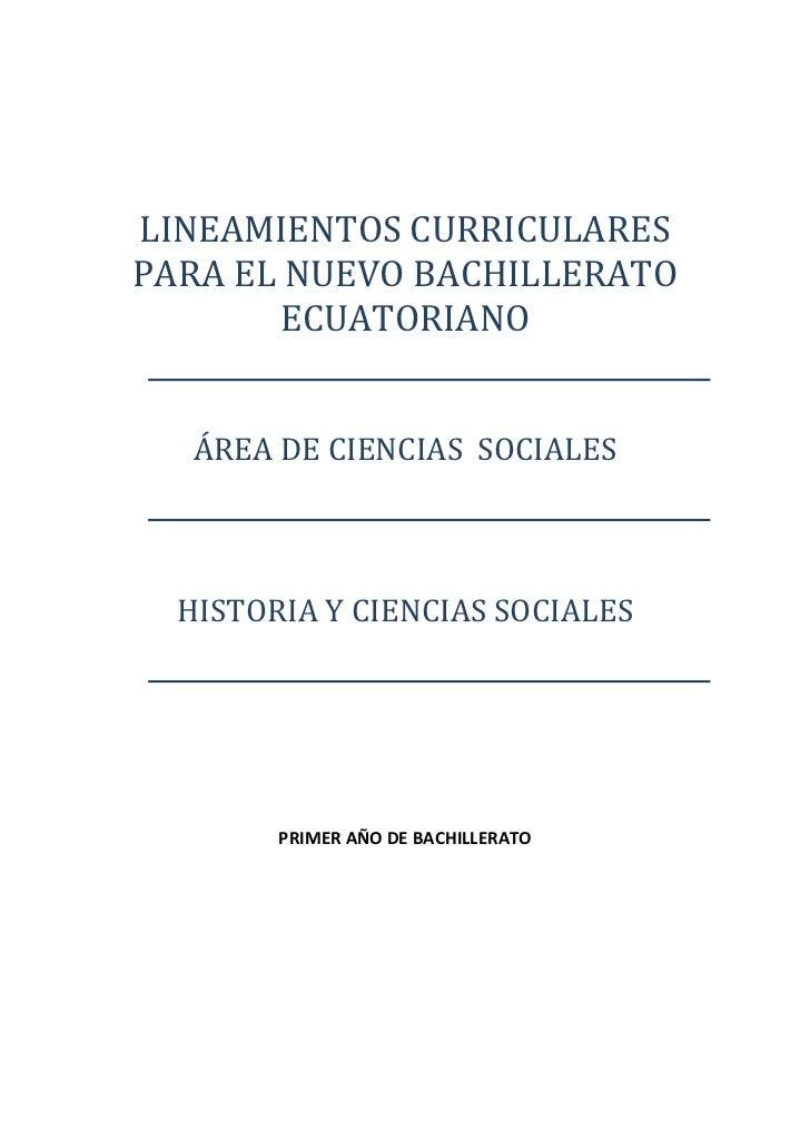 LINEAMIENTOSCURRICULARES    PARAELNUEVOBACHILLERATO            ECUATORIANO                 ...