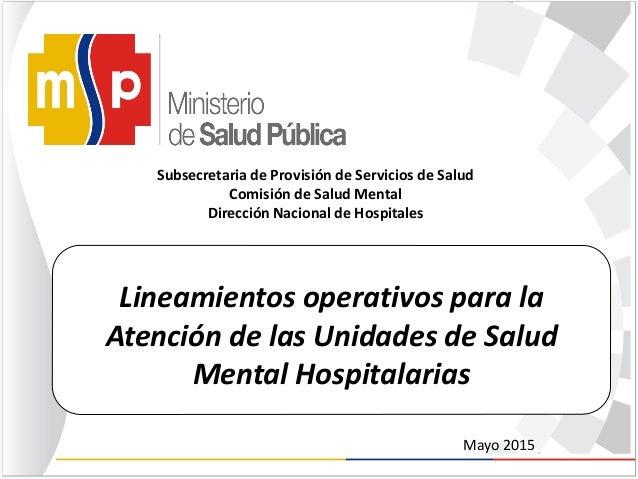 Lineamientos operativos para la Atención de las Unidades de Salud Mental Hospitalarias Subsecretaria de Provisión de Servi...