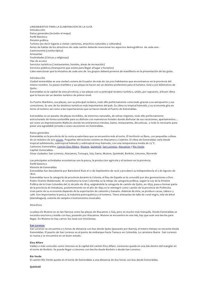 LINEAMIENTOS PARA LA ELABORACIÓN DE LA GUÍAIntroducciónDatos generales (incluido el mapa)Perfil HistóricoDivisión política...