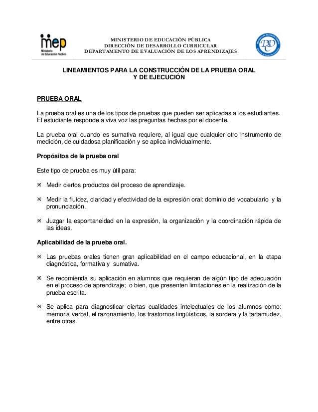 MINISTERIO DE EDUCACIÓN PÚBLICA DIRECCIÓN DE DESARROLLO CURRICULAR DEPARTAMENTO DE EVALUACIÓN DE LOS APRENDIZAJES LINEAMIE...