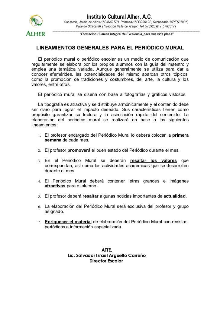 Lineamientos peri dico mural for Editorial de un periodico mural