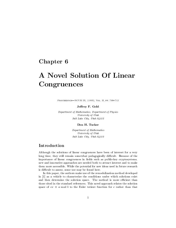 Chapter 6  A Novel Solution Of Linear Congruences                Proceedings|NCUR IX. (1995), Vol. II, pp. 708{712        ...