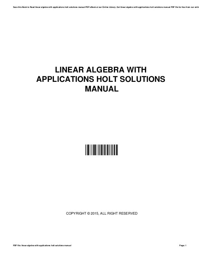 Solutions manual linear algebra with applications ebook array linear algebra with applications holt solutions manual rh slideshare net fandeluxe Image collections
