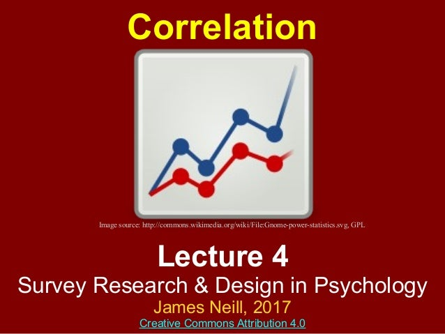 Lecture 4 Survey Research & Design in Psychology James Neill, 2017 Creative Commons Attribution 4.0 Correlation Image sour...