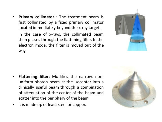 • Primary collimator : The treatment beam is first collimated by a fixed primary collimator located immediately beyond the...