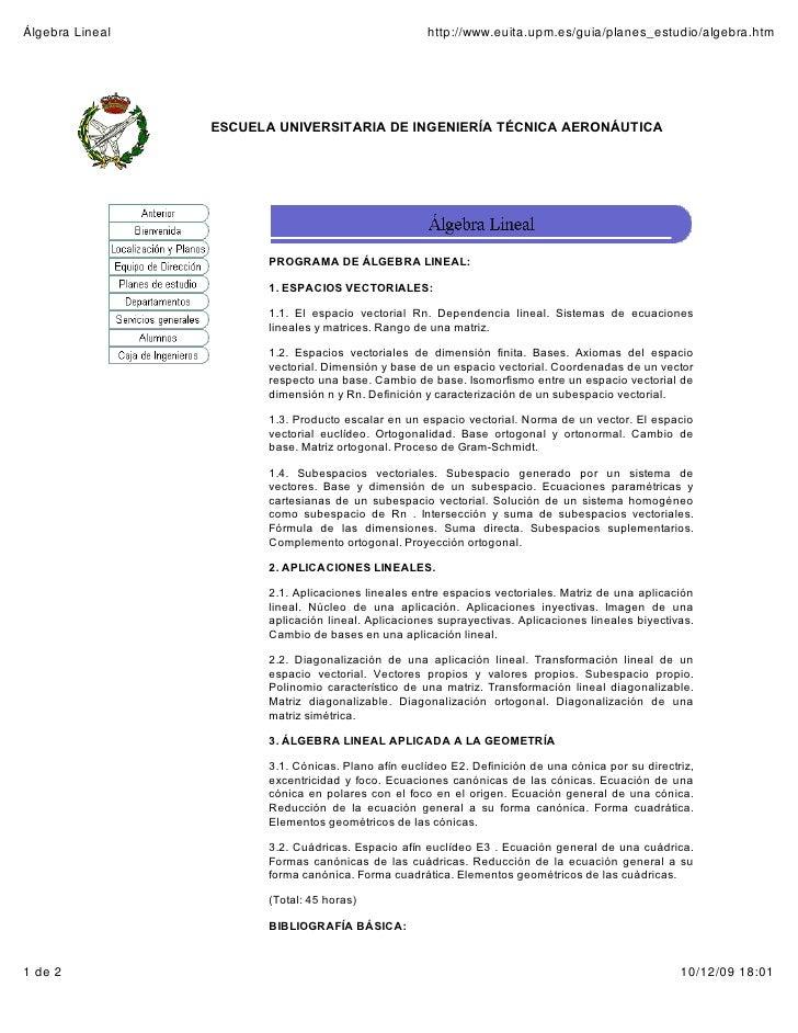 Álgebra Lineal                                       http://www.euita.upm.es/guia/planes_estudio/algebra.htm              ...