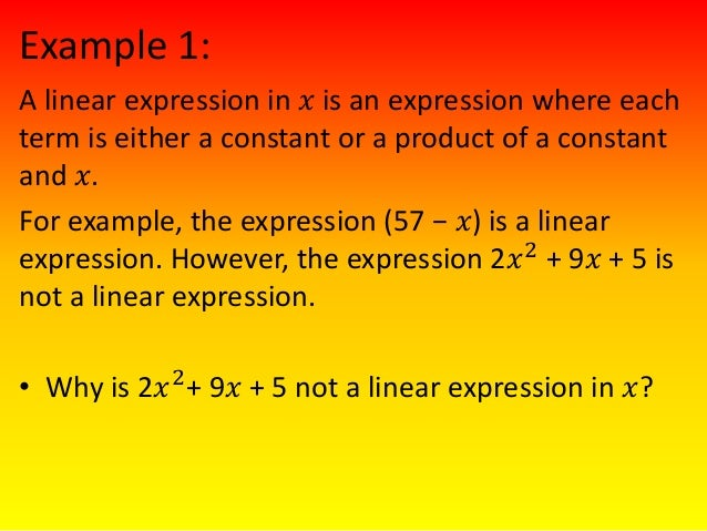 Linear and non linear expressions