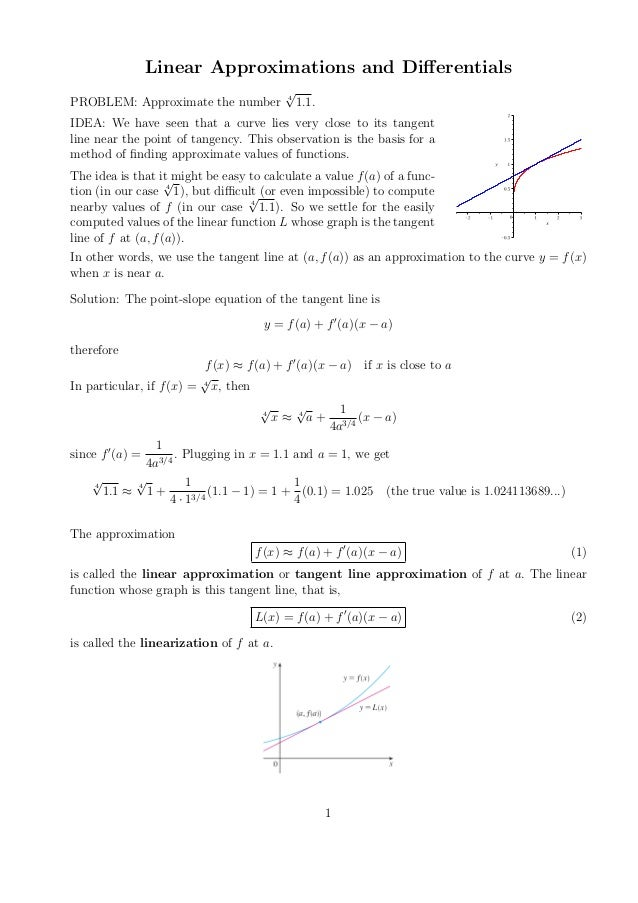 Section 2.8 Linear Approximations and Differentials  2010 Kiryl Tsishchanka  Linear Approximations and Differentials PROBLEM...