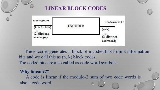linear block codes This video is a brief introduction to linear codes: dimensions, g (generating matrix), h (parity check matrix), their forms also gives an example of how to.