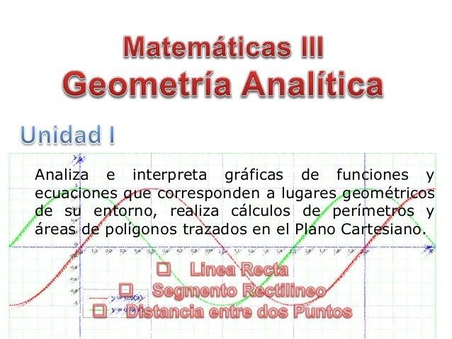 Analiza e interpreta gráficas de funciones y ecuaciones que corresponden a lugares geométricos de su entorno, realiza cálc...
