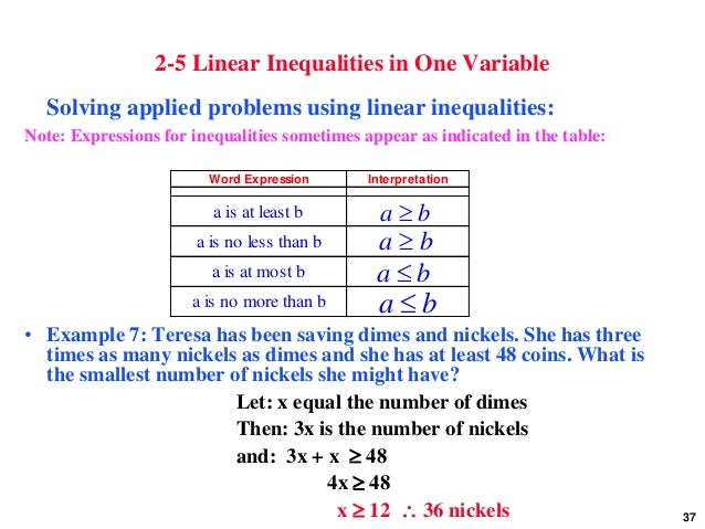 Worksheets One Variable Linear Inequalities Word Problems Worksheet linear equations inequalities and applications 37 2 5 in one variable solving applied problems
