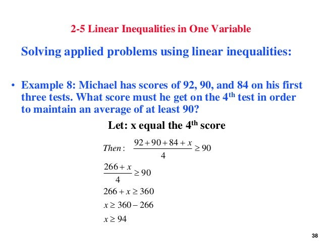 Worksheets One Variable Linear Inequalities Word Problems Worksheet linear equations inequalities and applications 38 2 5 in one variable solving applied problems