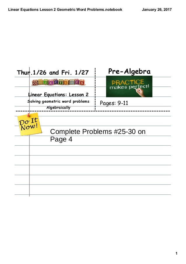 Linear equations lesson 2 geometric word problems