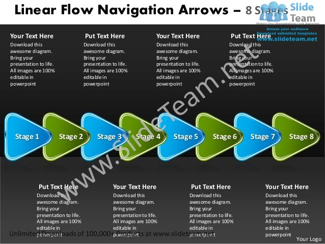Linear Flow Navigation Arrows – 8 StagesYour Text Here                      Put Text Here                     Your Text He...