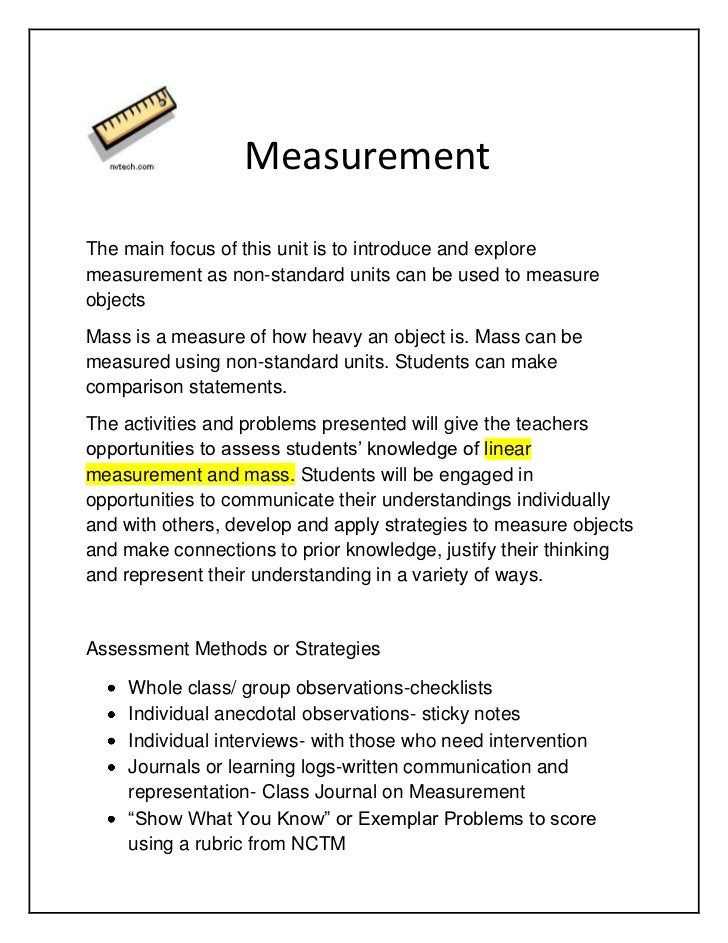 Measurement<br />The main focus of this unit is to introduce and explore measurement as non-standard units can be u...