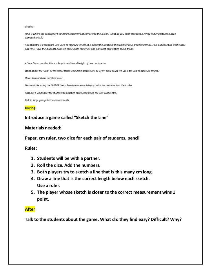 Linear measurement lessons – Nonstandard Measurement Worksheet