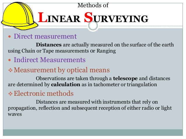 Surveying Electronic Distance Measurement : Linear measurement original chaining ranging