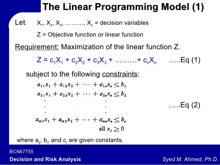 what are the essential ingredients of a linear programming model Optflux also contemplates several methods for model simplification and other pre  where mixed integer linear programming  for the discovery of essential.
