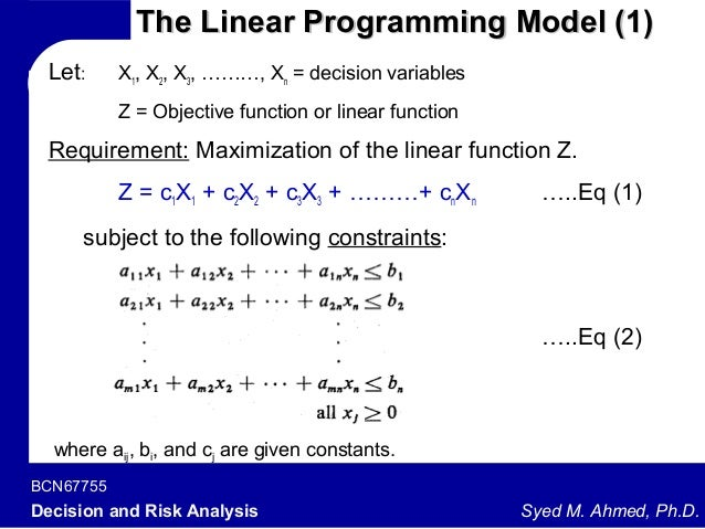 A linear programming model of integrated