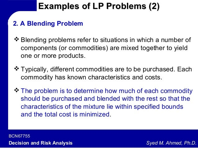decision modeling linear programming Application of integer linear programming model for vendor selection in a two  mathematical programming (mp) allows the decision-maker to formulate the vendor.