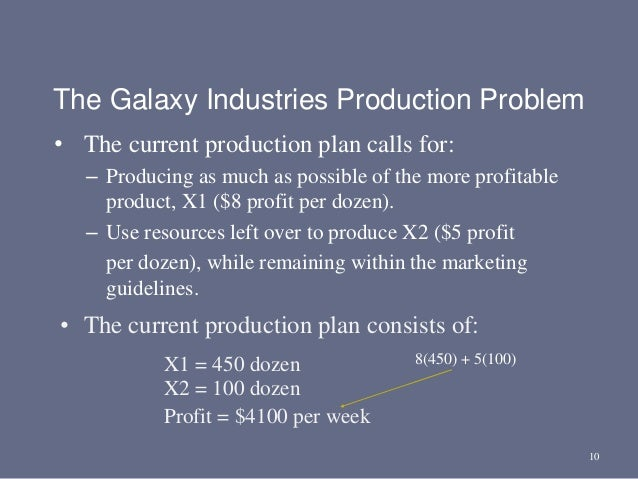 10 • The current production plan calls for: – Producing as much as possible of the more profitable product, X1 ($8 profit ...
