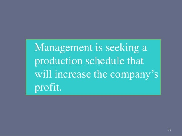 11 Management is seeking a production schedule that will increase the company's profit.